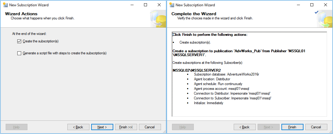 Selecting subscription wizard actions and completing the wizard