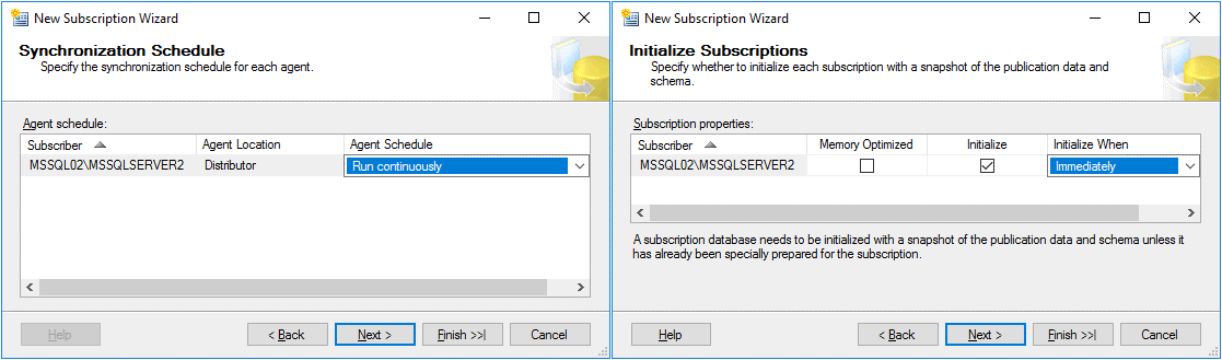 Synchronization schedule options and initialize subscription options