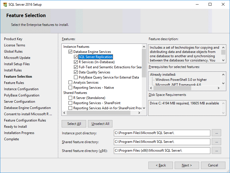 The components needed for MS SQL Server replication must be installed when installing SQL Server