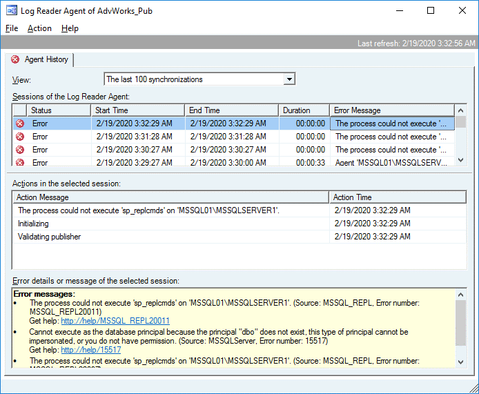 Viewing the Log Reader Agent history to fix errors for performing MS SQL Server replication