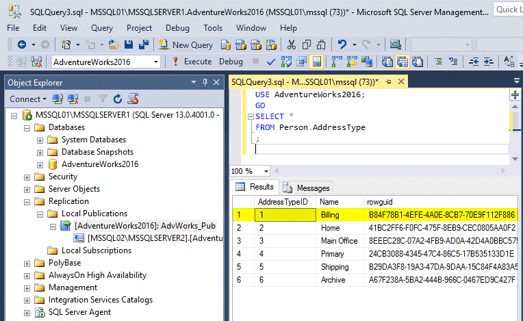 Viewing the content of the table of the master database after configuring MS SQL Server replication