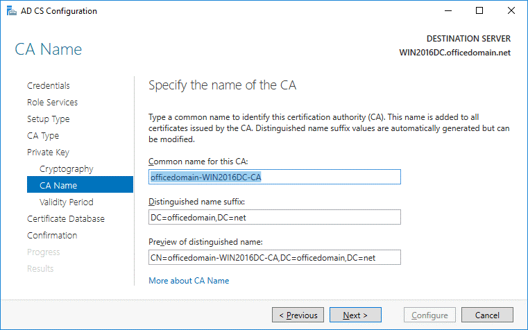 ADCS configuration – CA name