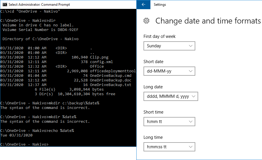 Checking the date and time format before configuring OneDrive backup