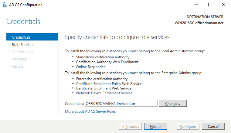Configuring ADFS for Office 365 – specifying credentials