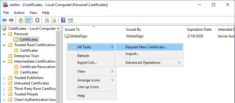 Creating a new certificate for configuring ADFS for Office 365
