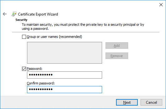 Define a password for a certificate that will be used for Office 365 ADFS setup