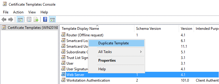 Duplicating a template for creating a certificate for Office 365 ADFS setup