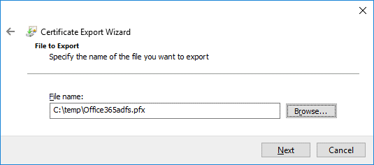 Exporting a certificate to a PFX file