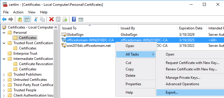 How to export a created certificate for configuring ADFS for Office 365