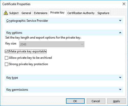 Making the private key exportable for Office 365 ADFS