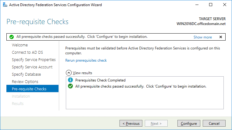 Office 365 ADFS setup – passing prerequisite checks
