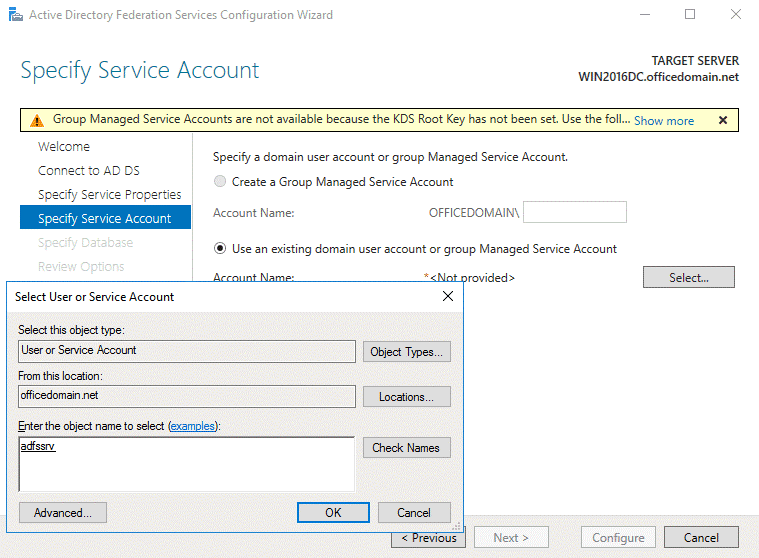 Office 365 ADFS setup – selecting a user with administrative permissions
