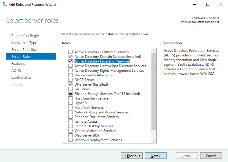 Office 365 ADFS setup – selecting the ADFS role