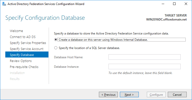 Office 365 ADFS setup – using Windows Internal Database