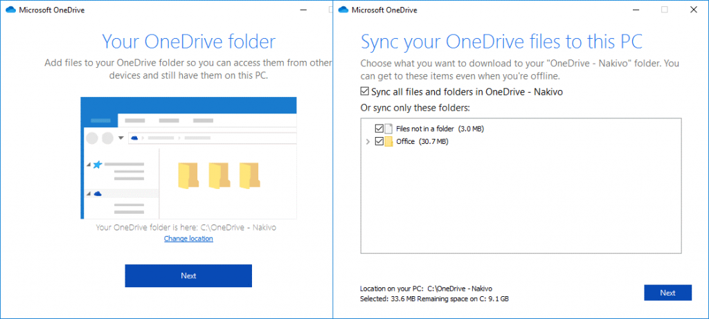 Selecting a local folder to store and synchronized OneDrive files before configuring the OneDrive backup