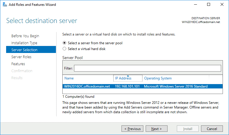 Selecting a server to install ADFS 2016