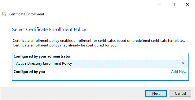 Selecting certificate enrollment policy
