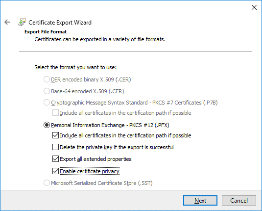 Selecting personal information exchange options