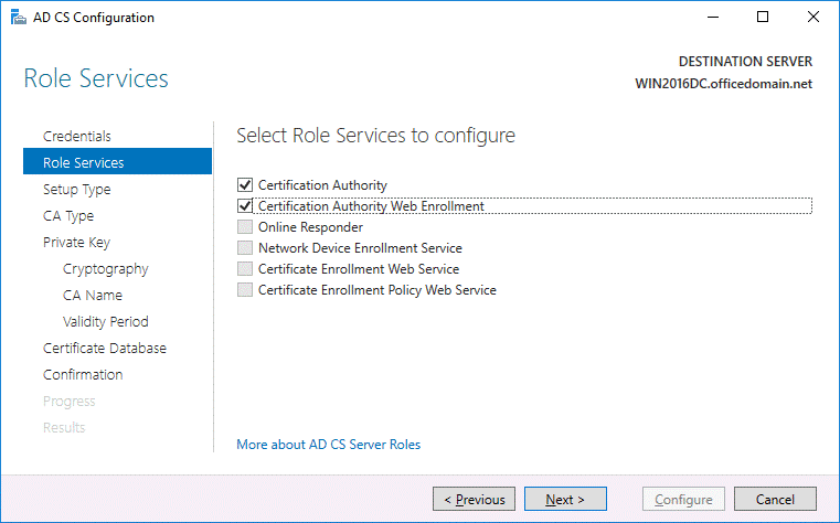 Selecting role services needed to configure AD CS