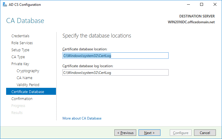 Selecting the certificate database