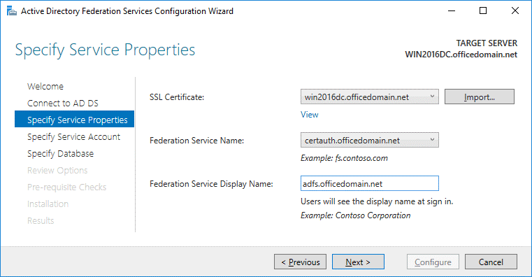 Selecting the certificate in service properties for configuring ADFS for Office 365