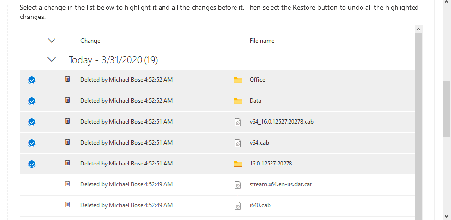 Selecting the needed files in the web interface for OneDrive recovery