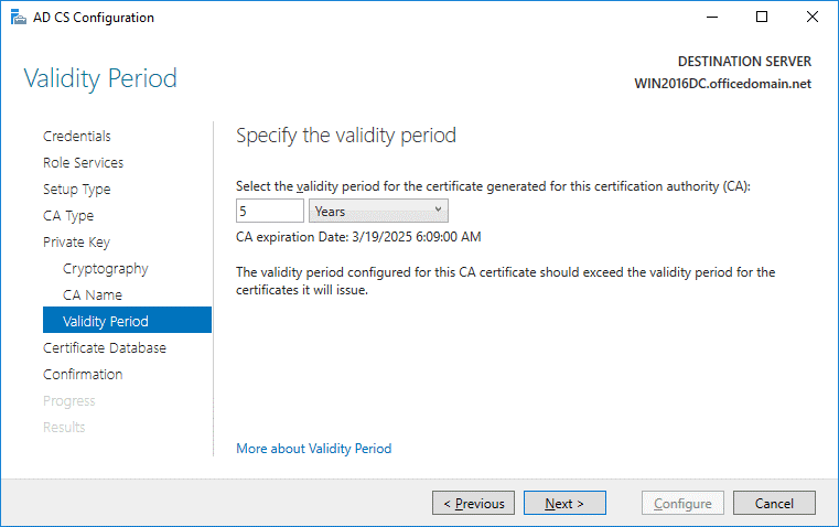Setting the validity period for the certificate needed for Office 365 ADFS setup