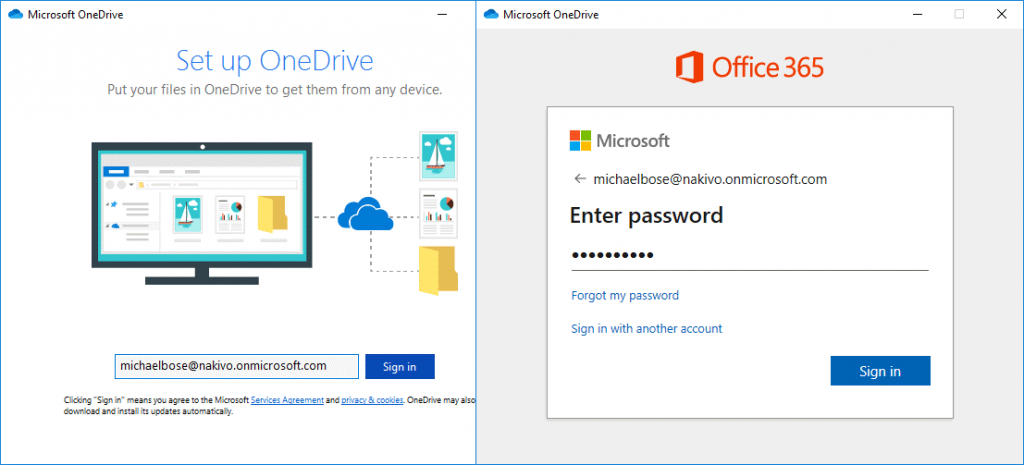 Setup of OneDrive account in OneDrive sync client