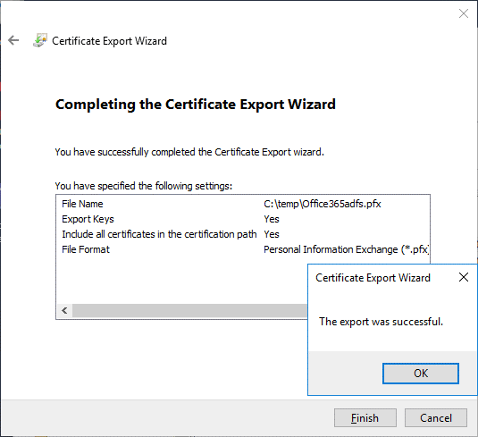 The certificate was exported successfully