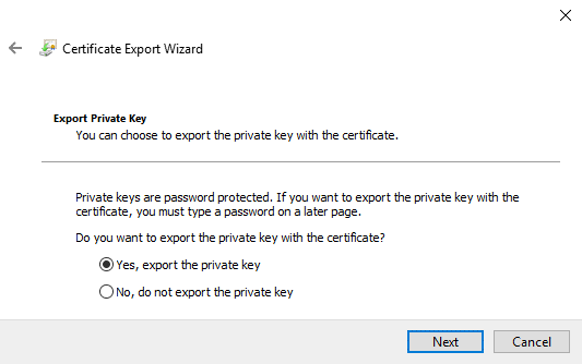 The private key must be exported