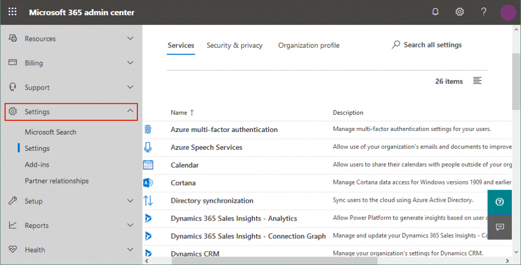 Configuring services in settings of the Office 365 admin center
