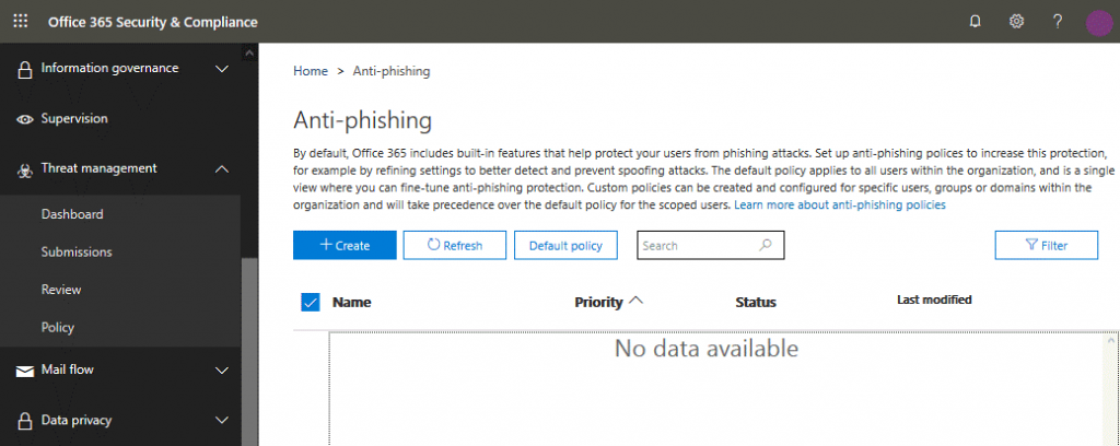 Creating a new anti-phishing policy