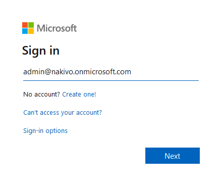 Entering the Office 365 admin login