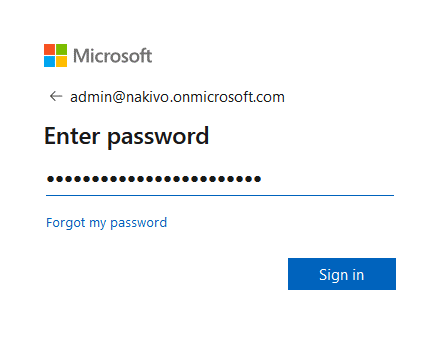 Entering the passwrd of the Office 365 admin account