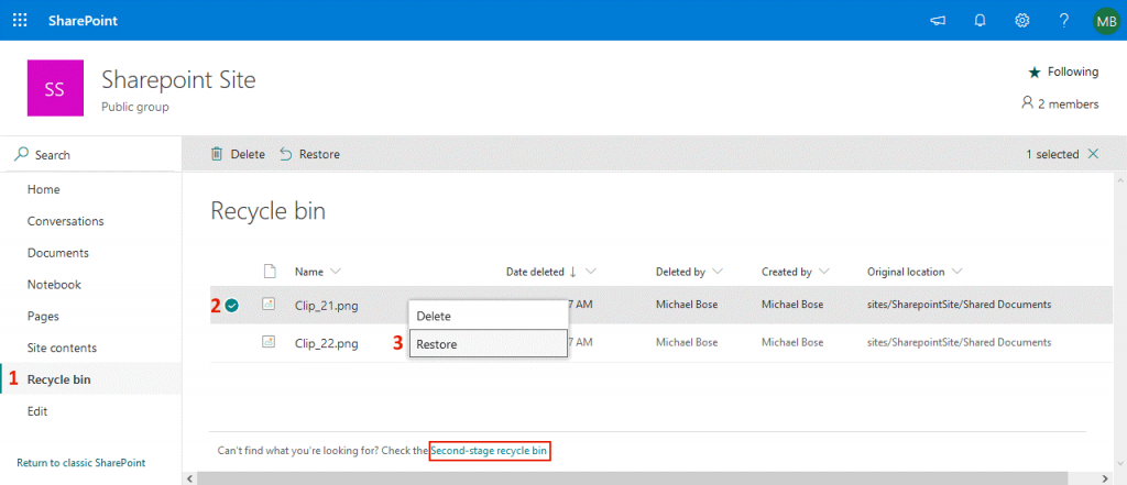File recovery from the Recycle bin for Office 365 SharePoint