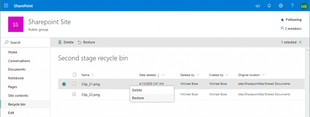 File recovery from the Second-stage recycle bin for Office 365 SharePoint