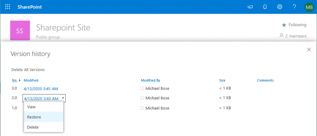 How to restore Office 365 SharePoint files by using version history