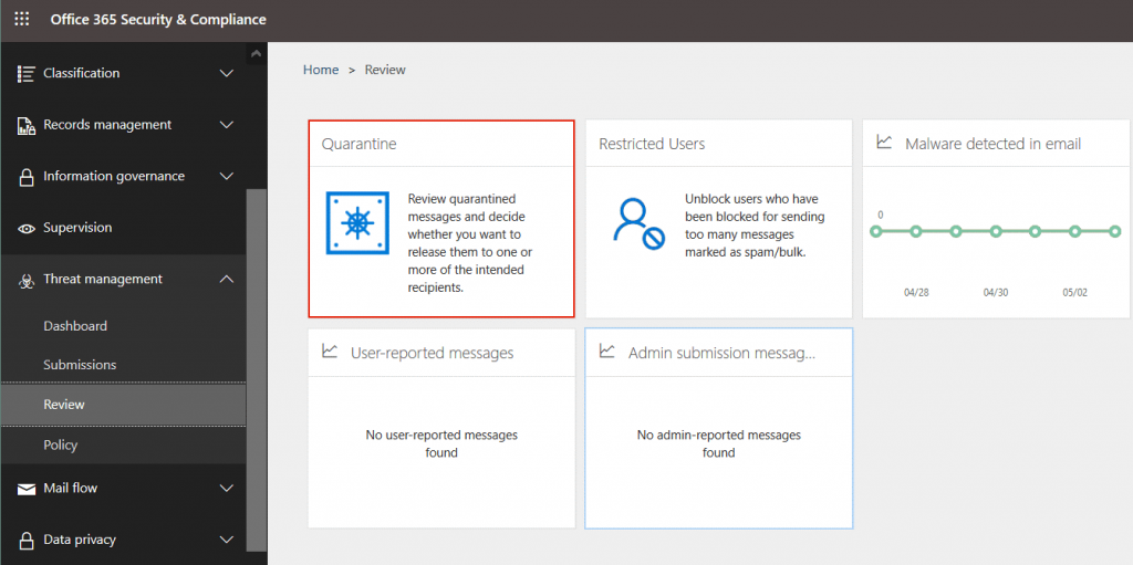 Office 365 Advanced Threat Protection – reviewing quarantine