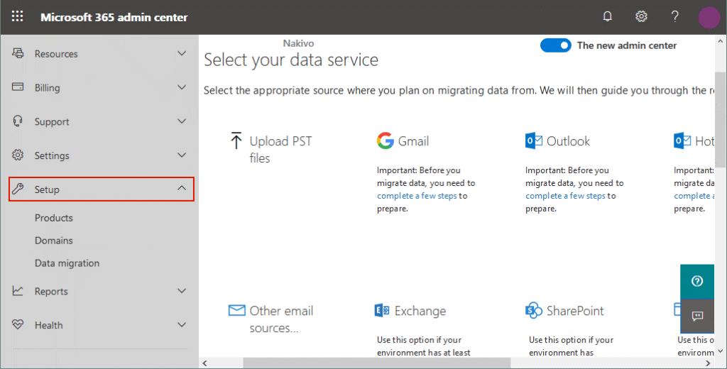 Setup of data migration in Office 365 admin center