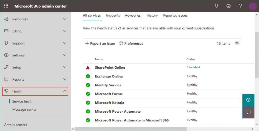Viewing the health status for all services in the Office 365 admin center