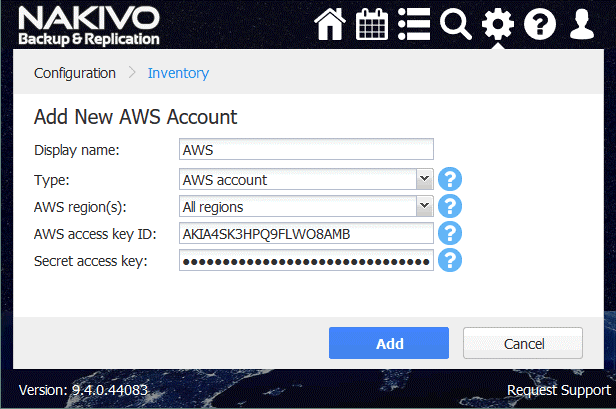 Adding a new AWS account in the Inventory of NAKIVO Backup & Replication