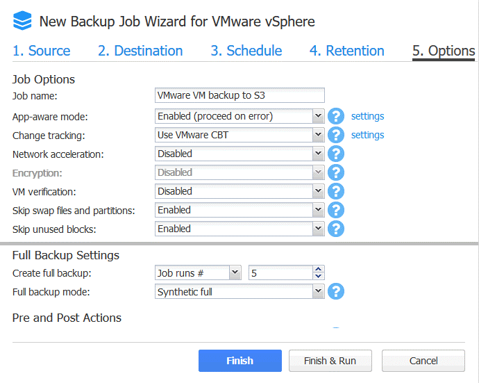 Backup to Amazon S3 - configuring job options
