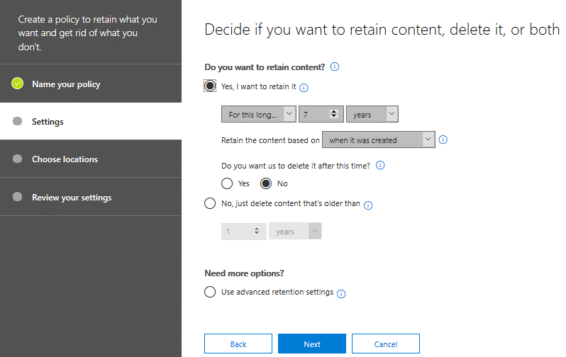 Configuring retention settings for a new policy with data governance tools for Office 365