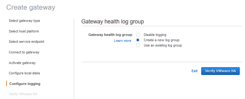 Configuring the gateway storage health log group