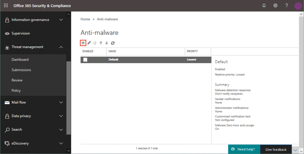 Creating a new Office anti-malware policy for malware protection