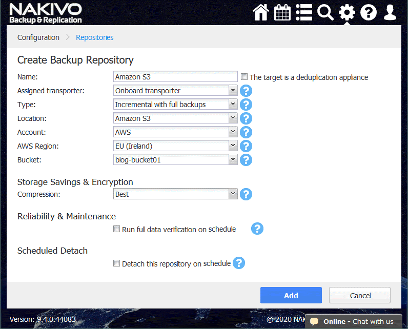 Creating and configuring a new Amazon S3 Backup Repository to back up data with NAKIVO Backup & Replication
