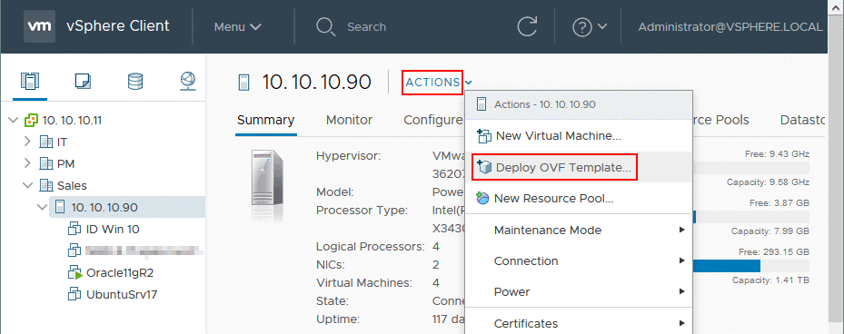 Deploying Amazon Storage Gateway from an OVA template on VMware ESXi host managed by vCenter