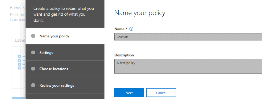 Entering a name for a new retention policy