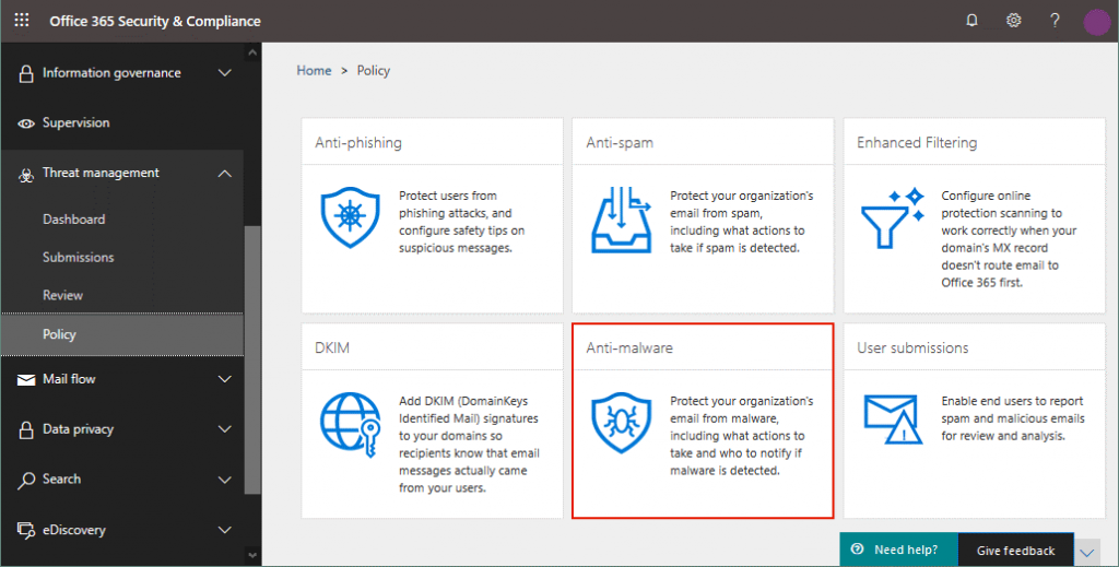 Malware protection center Office 365