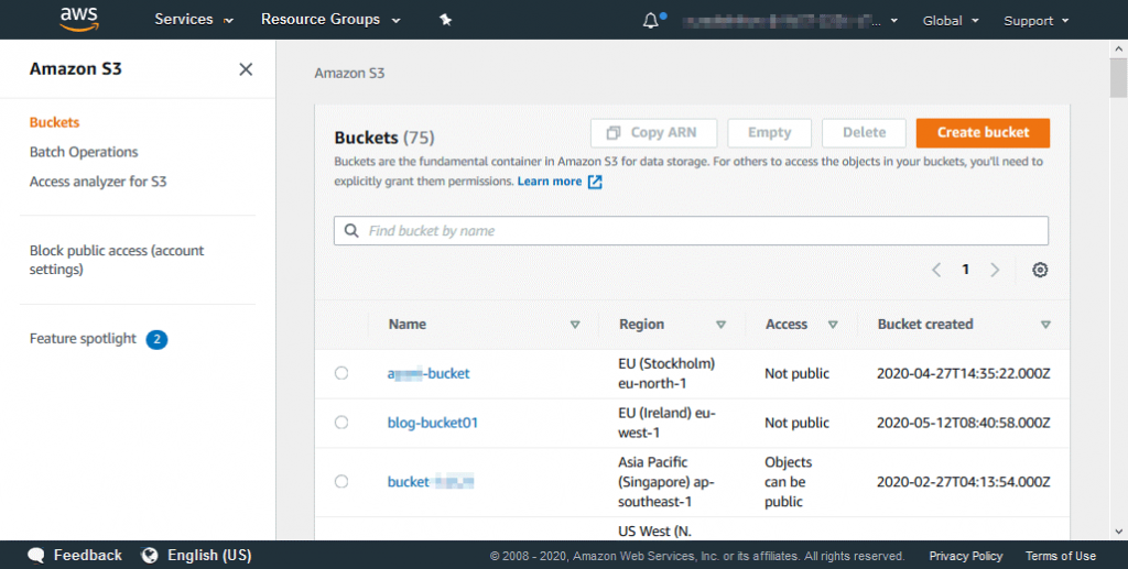 Opening the S3 bucket to configure Amazon S3 encryption